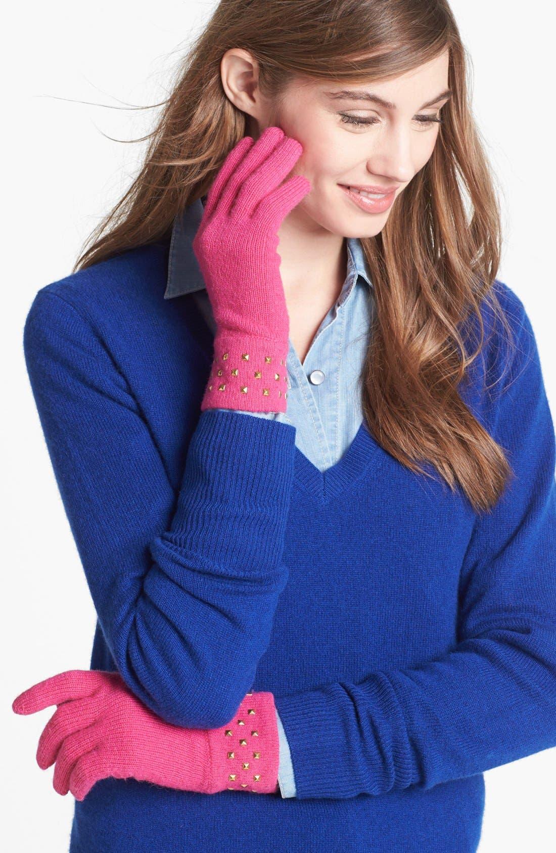 Main Image - kate spade new york stud cuff merino wool gloves