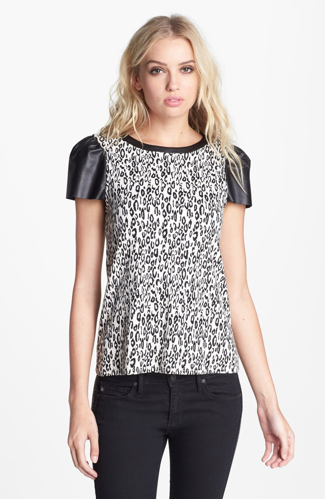 Alternate Image 1 Selected - Ella Moss 'Frankie' Faux Leather Sleeve Top