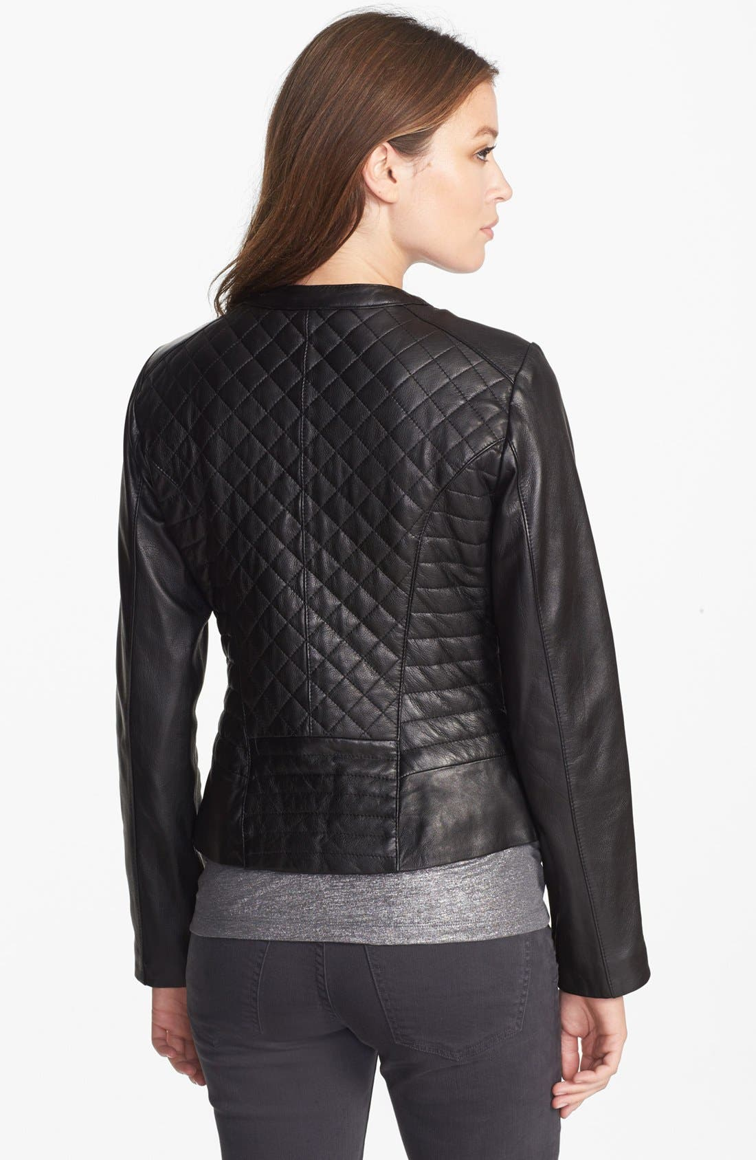 Alternate Image 2  - Cole Haan Collarless Quilted Leather Jacket
