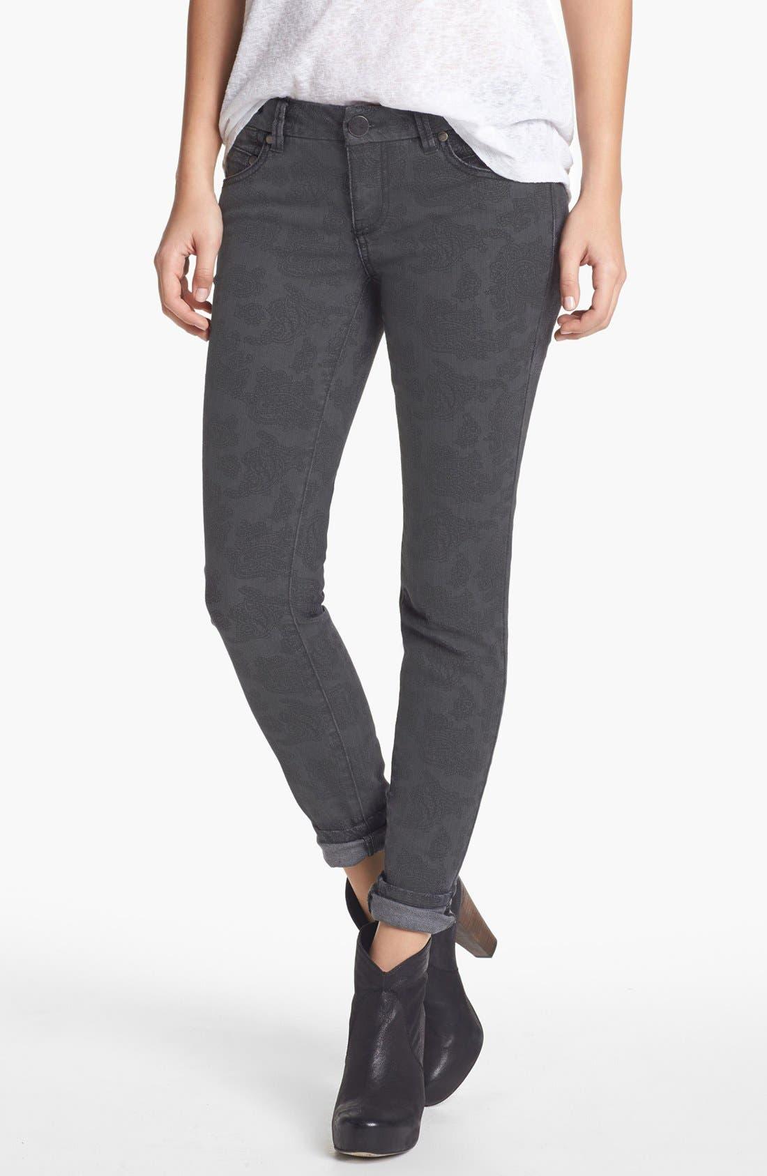 Alternate Image 1 Selected - Fire Paisley Print Skinny Jeans (Charcoal) (Juniors)