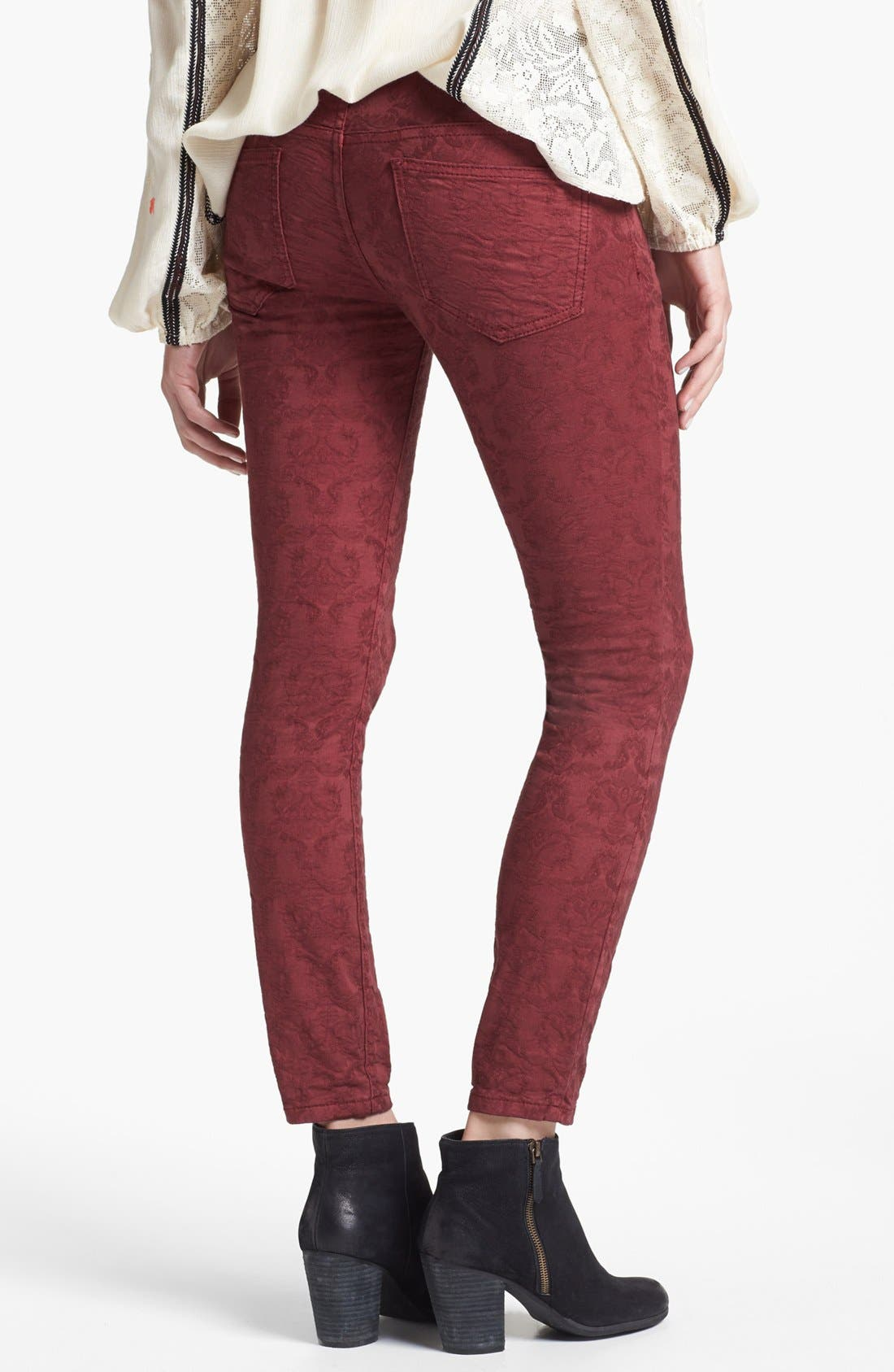 Alternate Image 2  - Free People Jacquard Skinny Jeans (Cranberry)