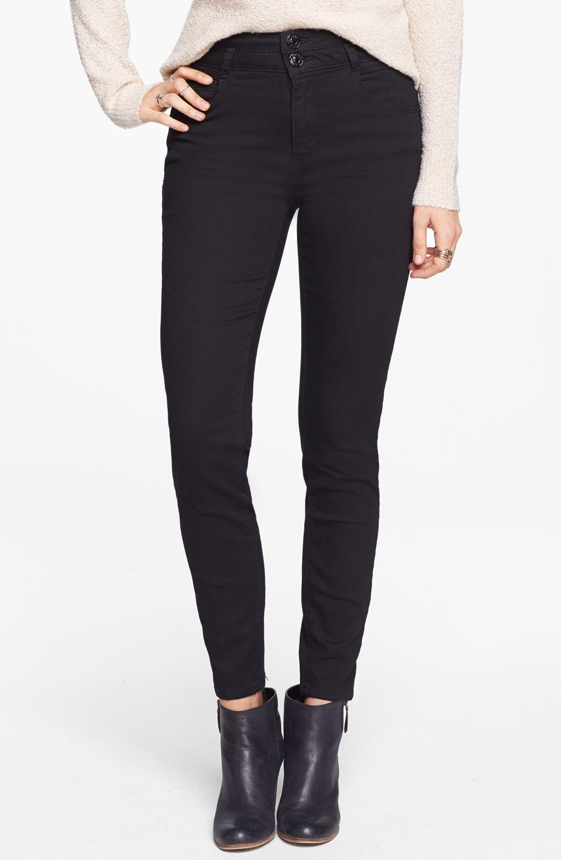 Alternate Image 1 Selected - Jolt High Waist Skinny Jeans (Black) (Juniors)