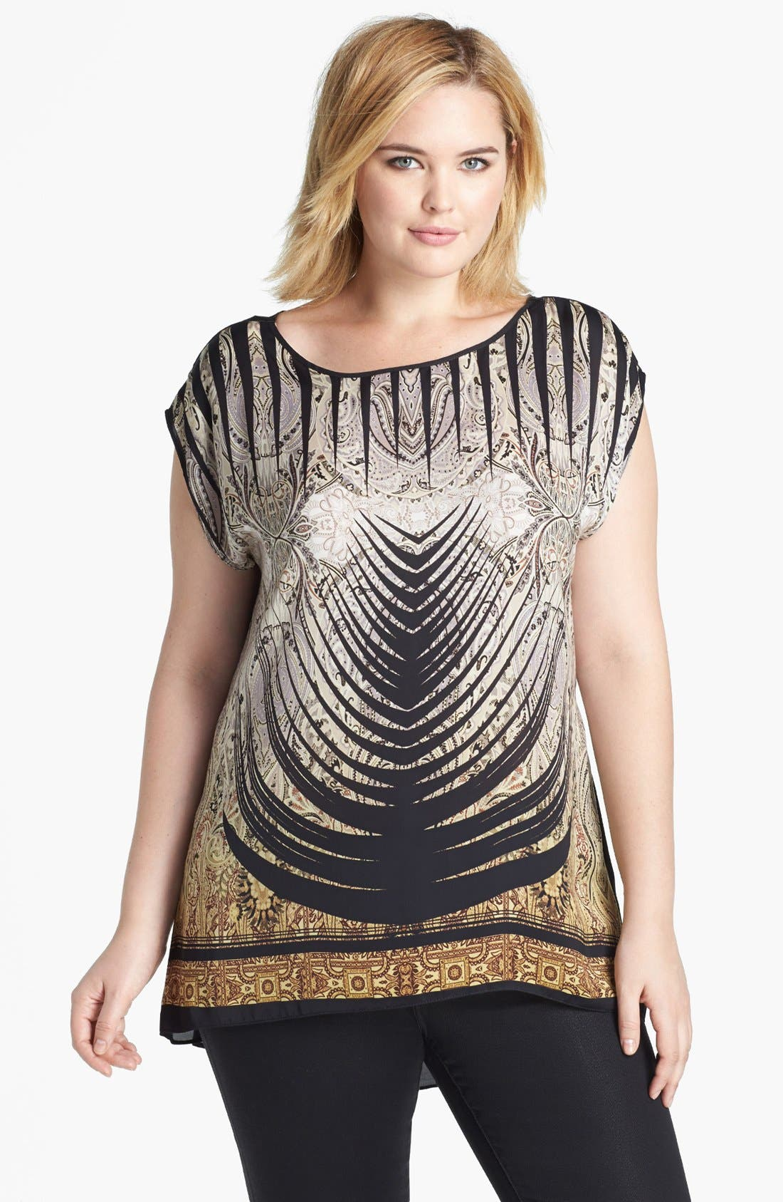 Main Image - Evans Mixed Print High/Low Top (Plus Size)