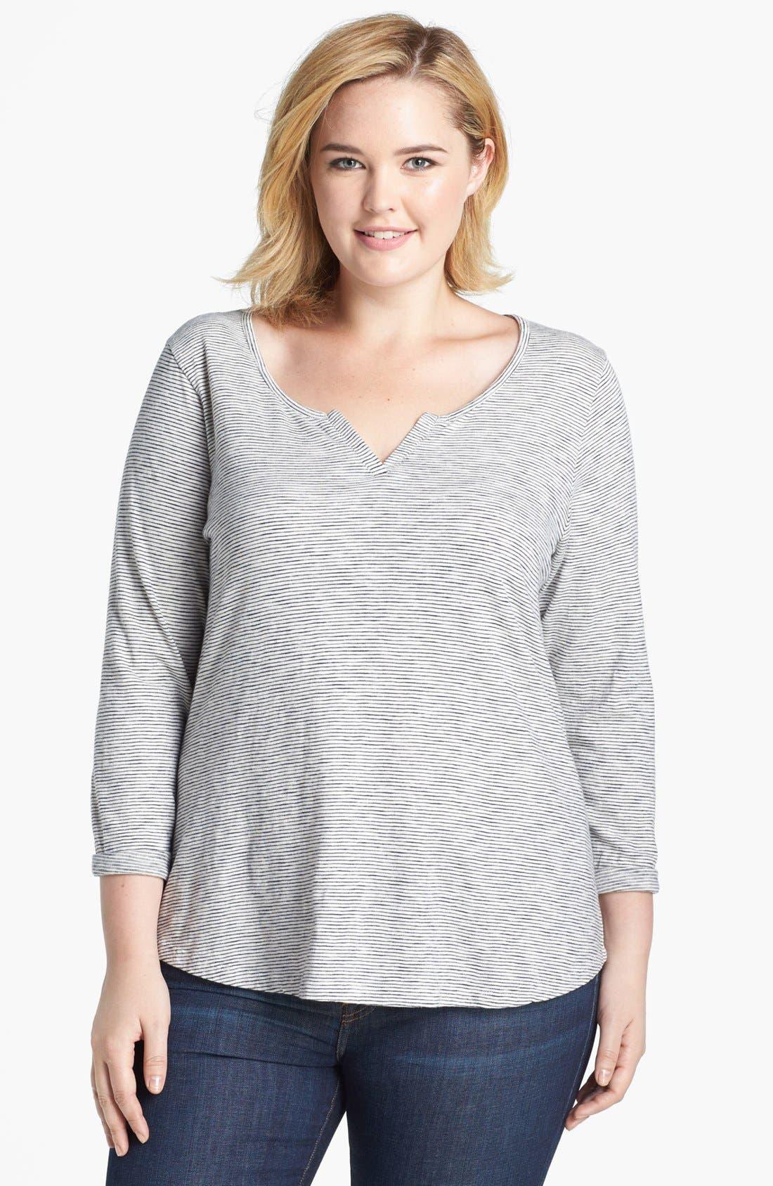 Alternate Image 1 Selected - Lucky Brand Mini Stripe Cotton Top (Plus Size)