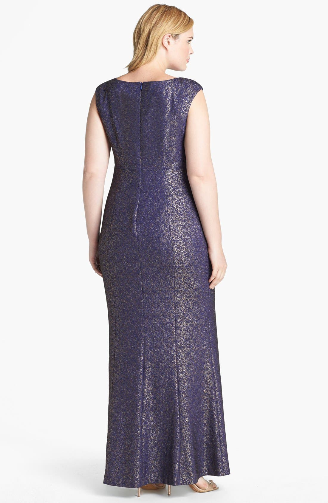 Alternate Image 2  - Kay Unger Metallic Lace Gown (Plus Size)