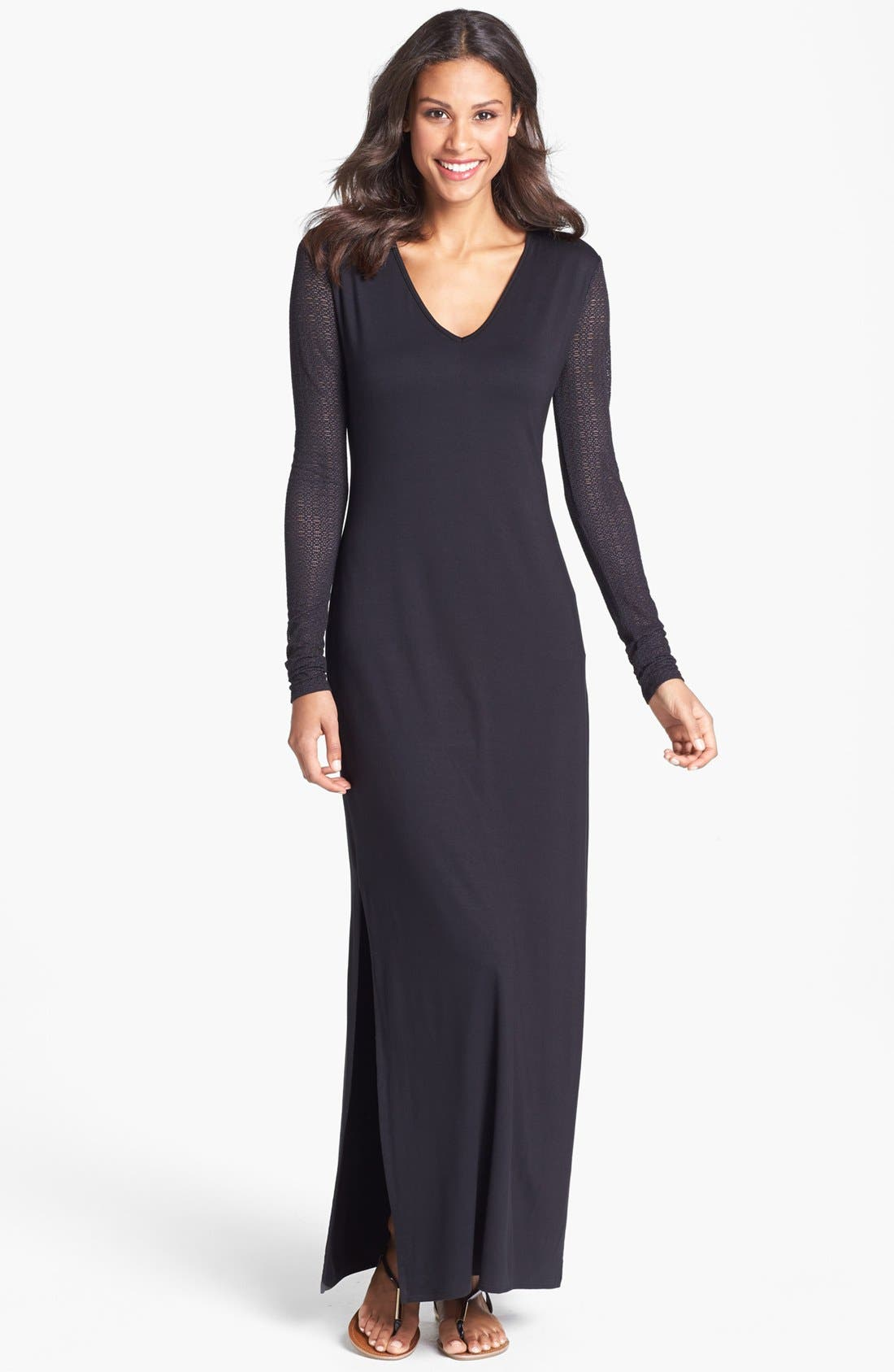 Alternate Image 1 Selected - Three Dots Lace Sleeve Jersey Maxi Dress