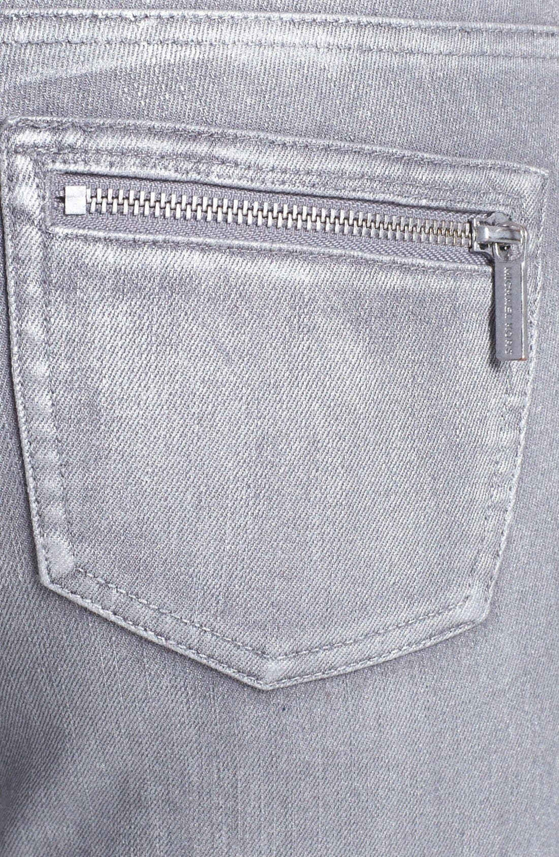 Alternate Image 2  - MICHAEL Michael Jeans Moto Skinny Jeans (Silver)