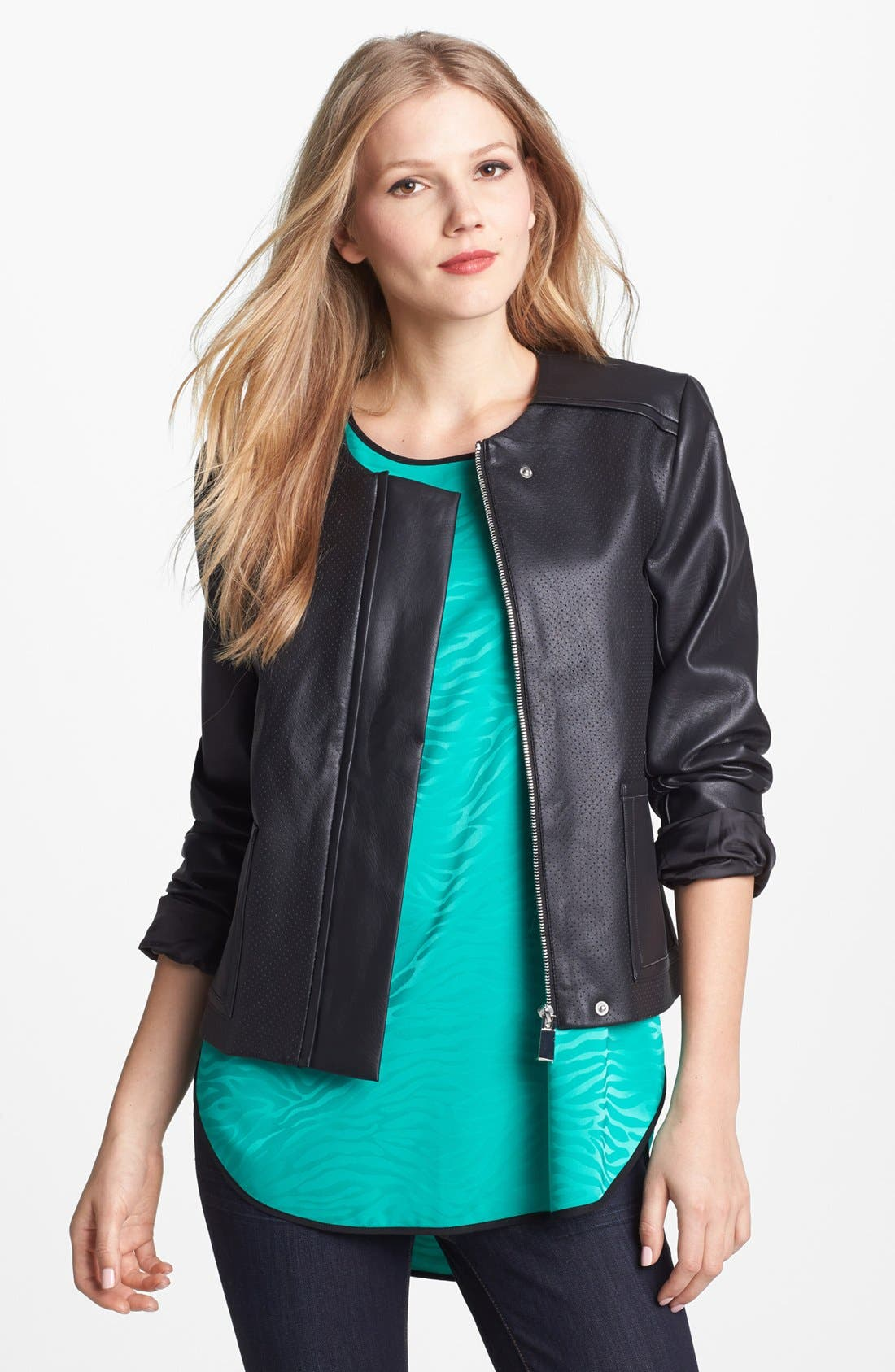 Main Image - Vince Camuto Collarless Perforated Faux Leather Jacket