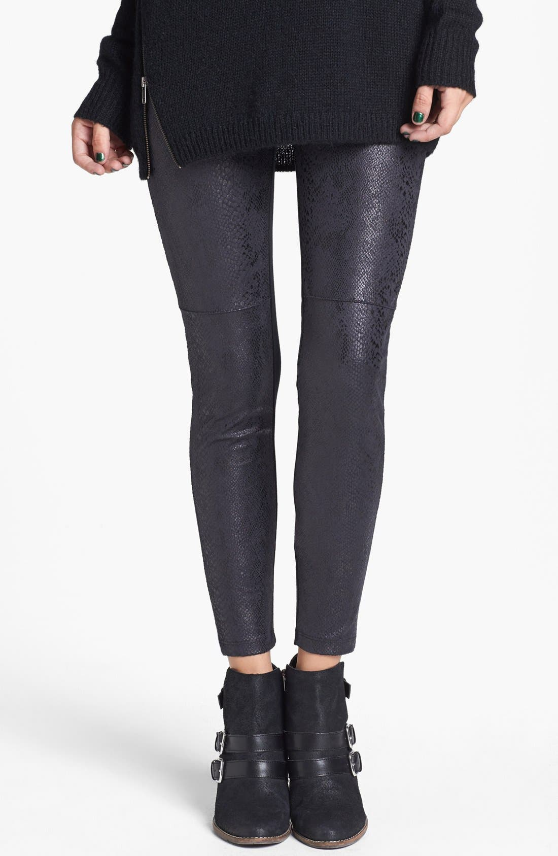 Alternate Image 1 Selected - Lily White Faux Leather Leggings (Juniors) (Online Only)