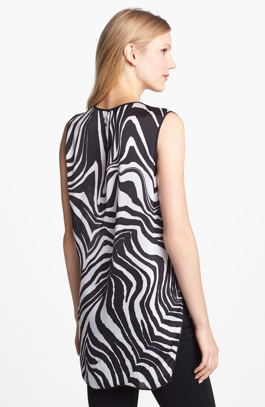 Alternate Image 2  - Vince Camuto Zebra Print High/Low Sleeveless Blouse