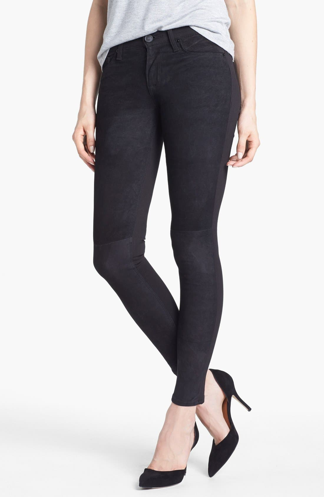 Alternate Image 1 Selected - Hudson Jeans 'Nico' Suede Front Mid Rise Skinny Jeans (Mirage)