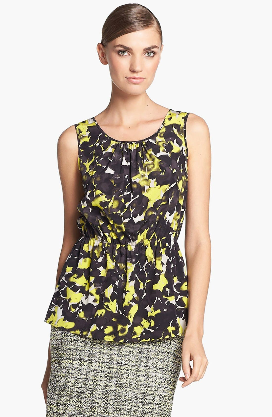 Alternate Image 1 Selected - St. John Collection 'Layered Leaves' Print Crepe Blouse