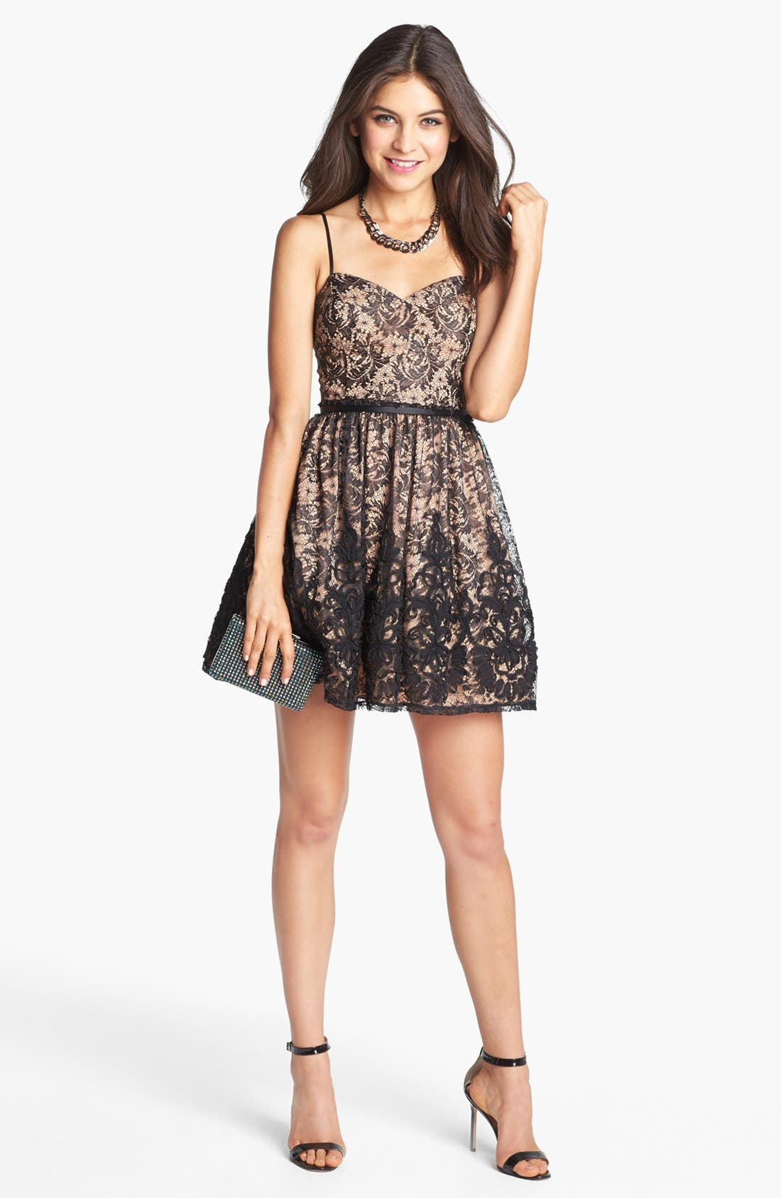 Main Image - Way-In Lace Fit & Flare Dress (Juniors)
