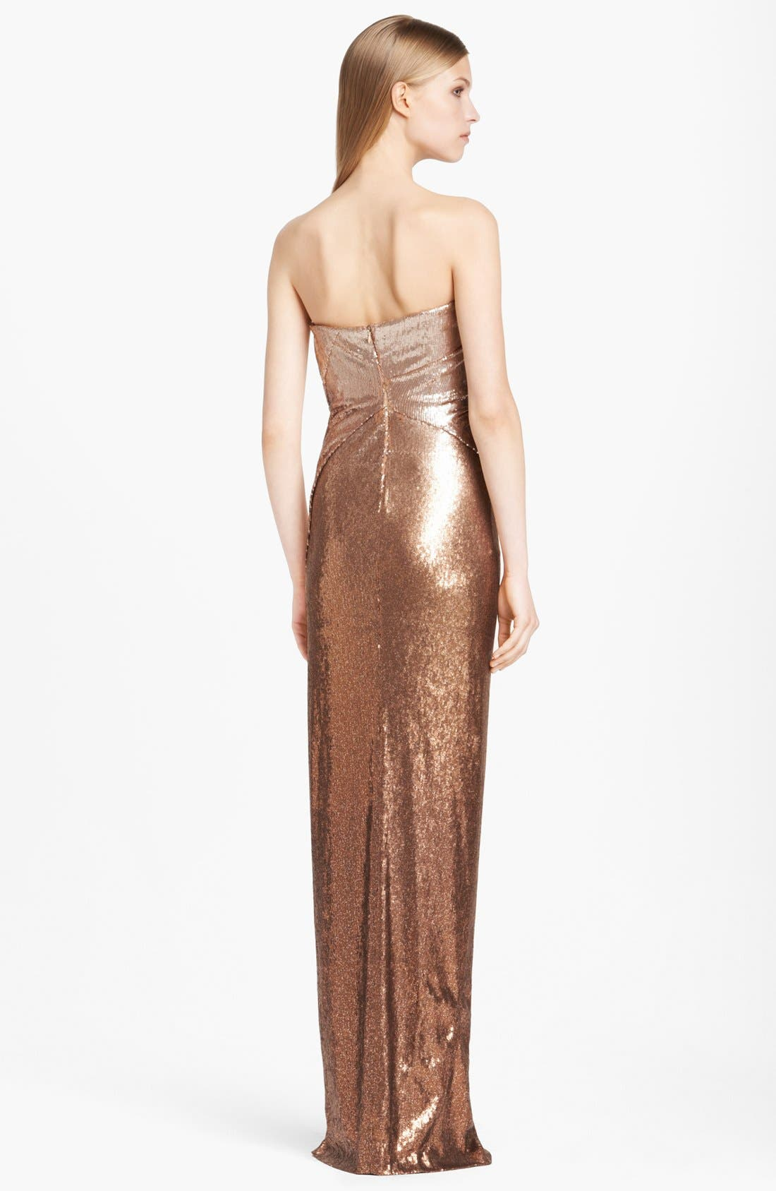 Alternate Image 2  - Donna Karan Collection Strapless Ombré Sequin Gown