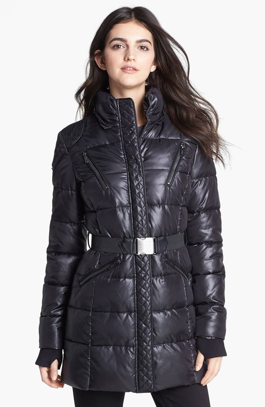 Alternate Image 4  - Circus by Sam Edelman Faux Fur Trim Quilted Coat (Online Only)