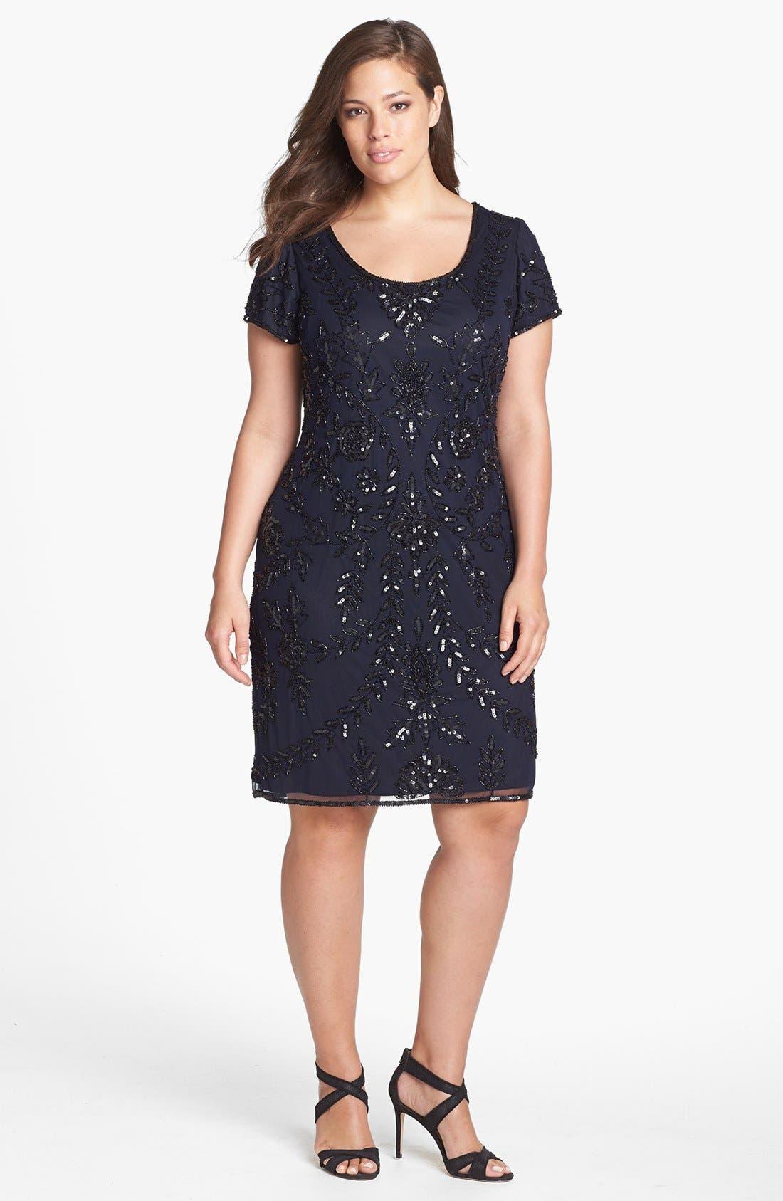 Alternate Image 1 Selected - Pisarro Nights Beaded Mesh Dress (Plus Size)