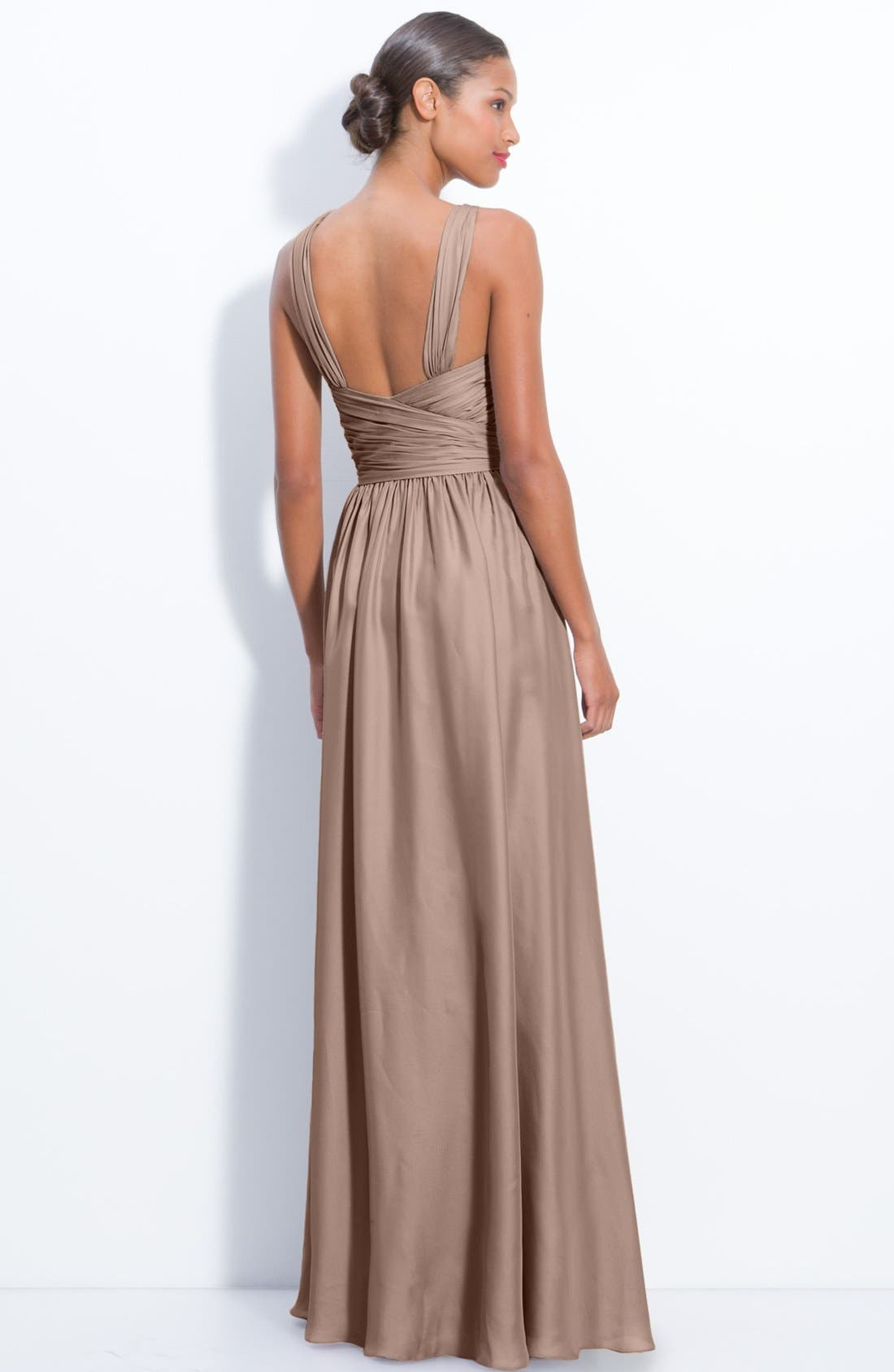 Alternate Image 2  - Monique Lhuillier Bridesmaids Twist Shoulder Satin Chiffon Gown (Nordstrom Exclusive)