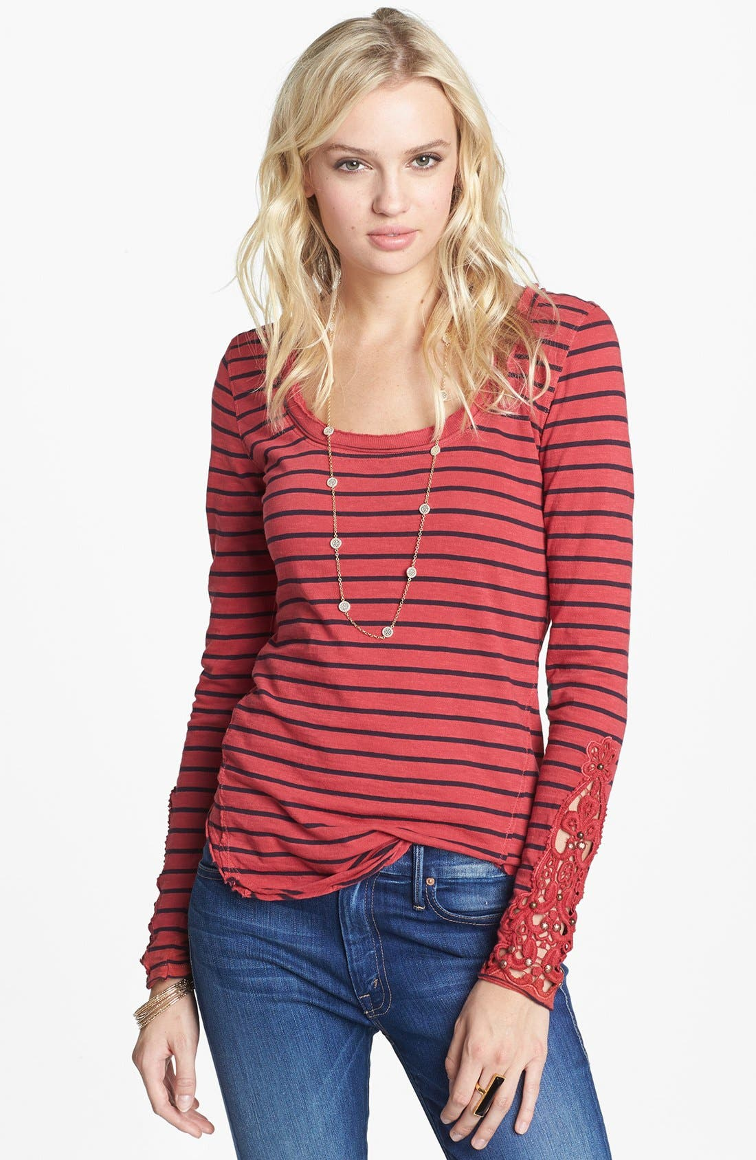 Alternate Image 1 Selected - Free People 'Hard Candy' Embellished Sleeve Tee