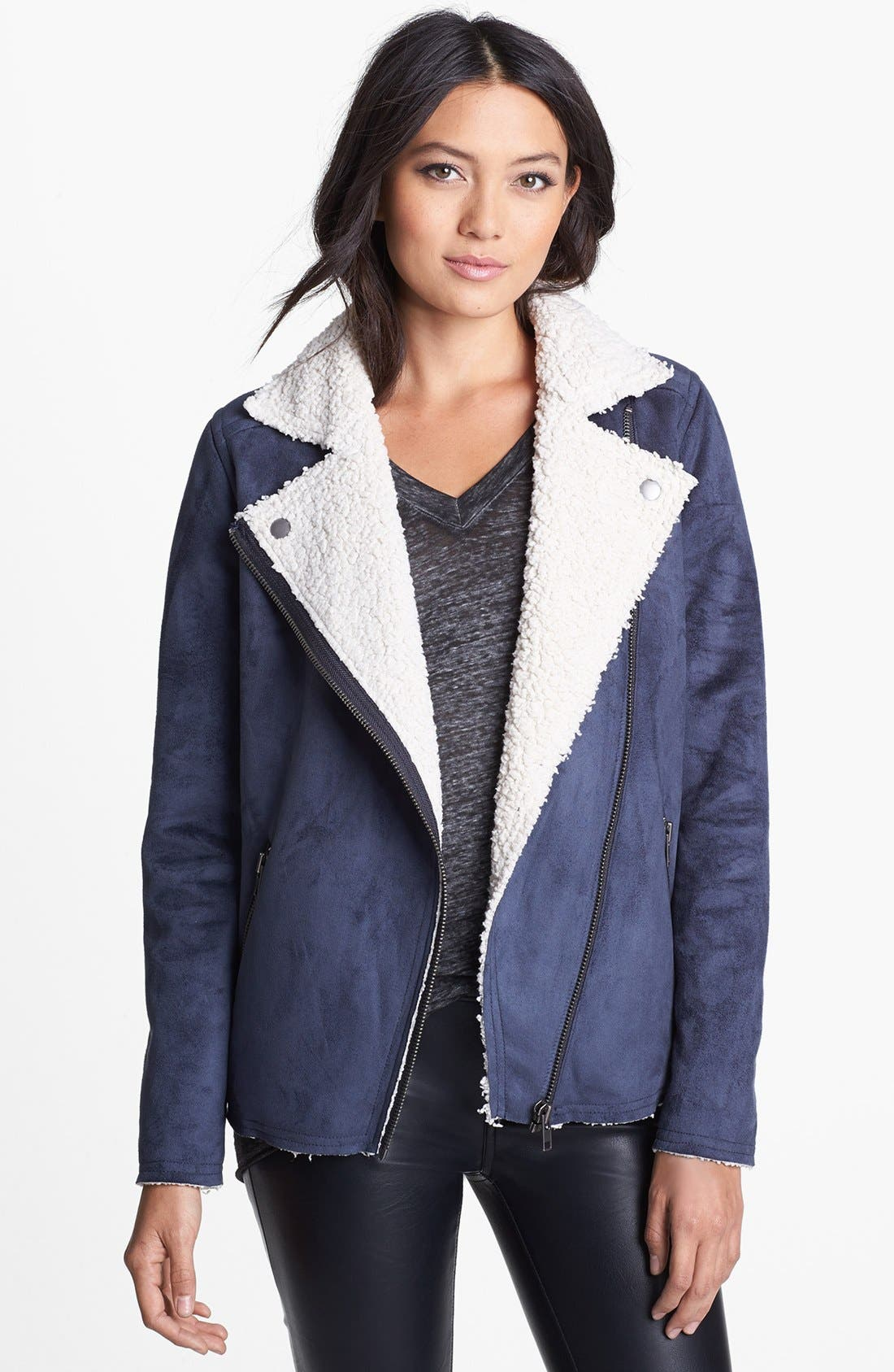 Main Image - Leith Faux Shearling Lined Moto Jacket