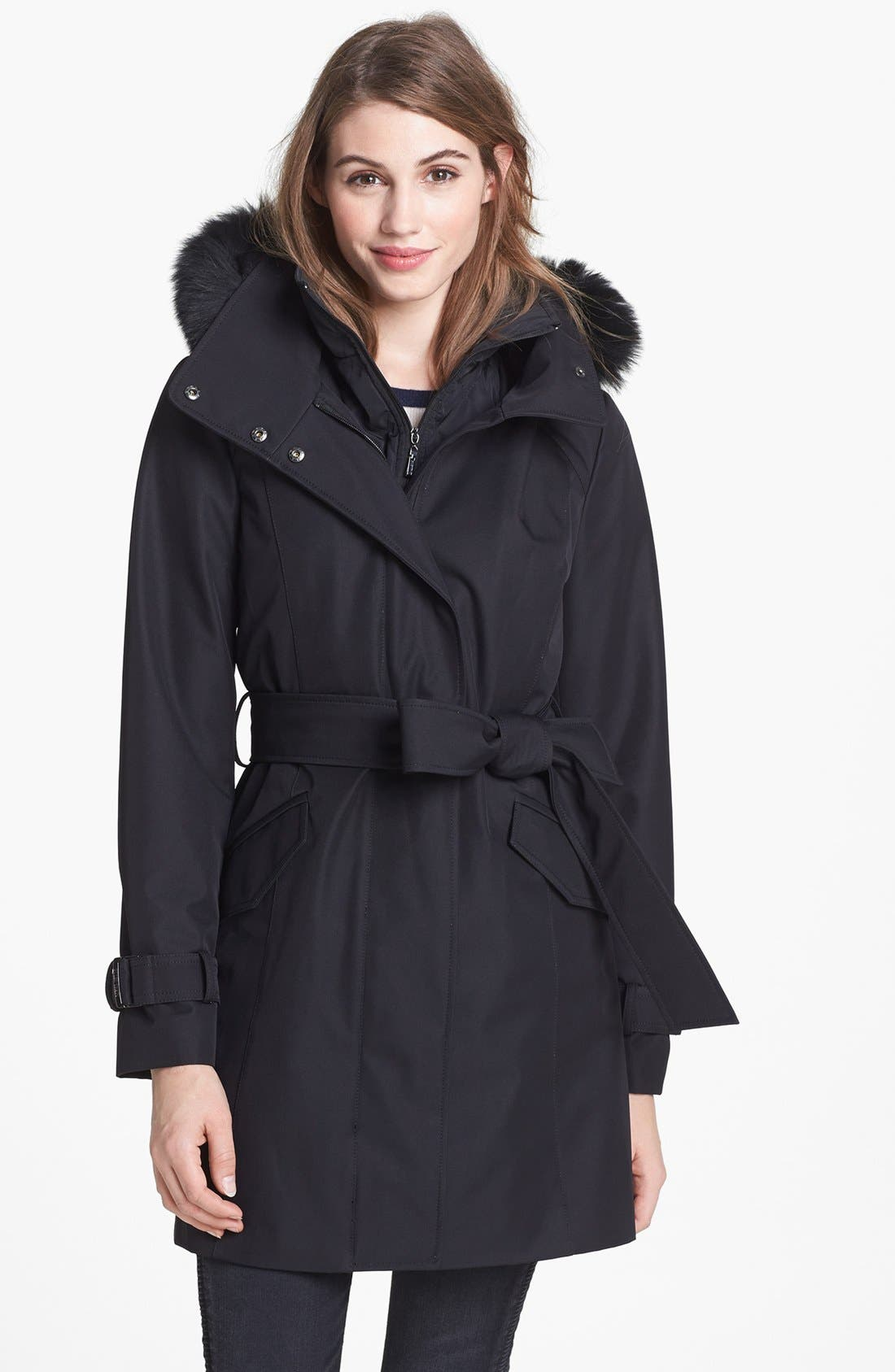 Alternate Image 1 Selected - Collection Ellen Tracy Genuine Fox Fur Trim Belted Raincoat (Nordstrom Exclusive)