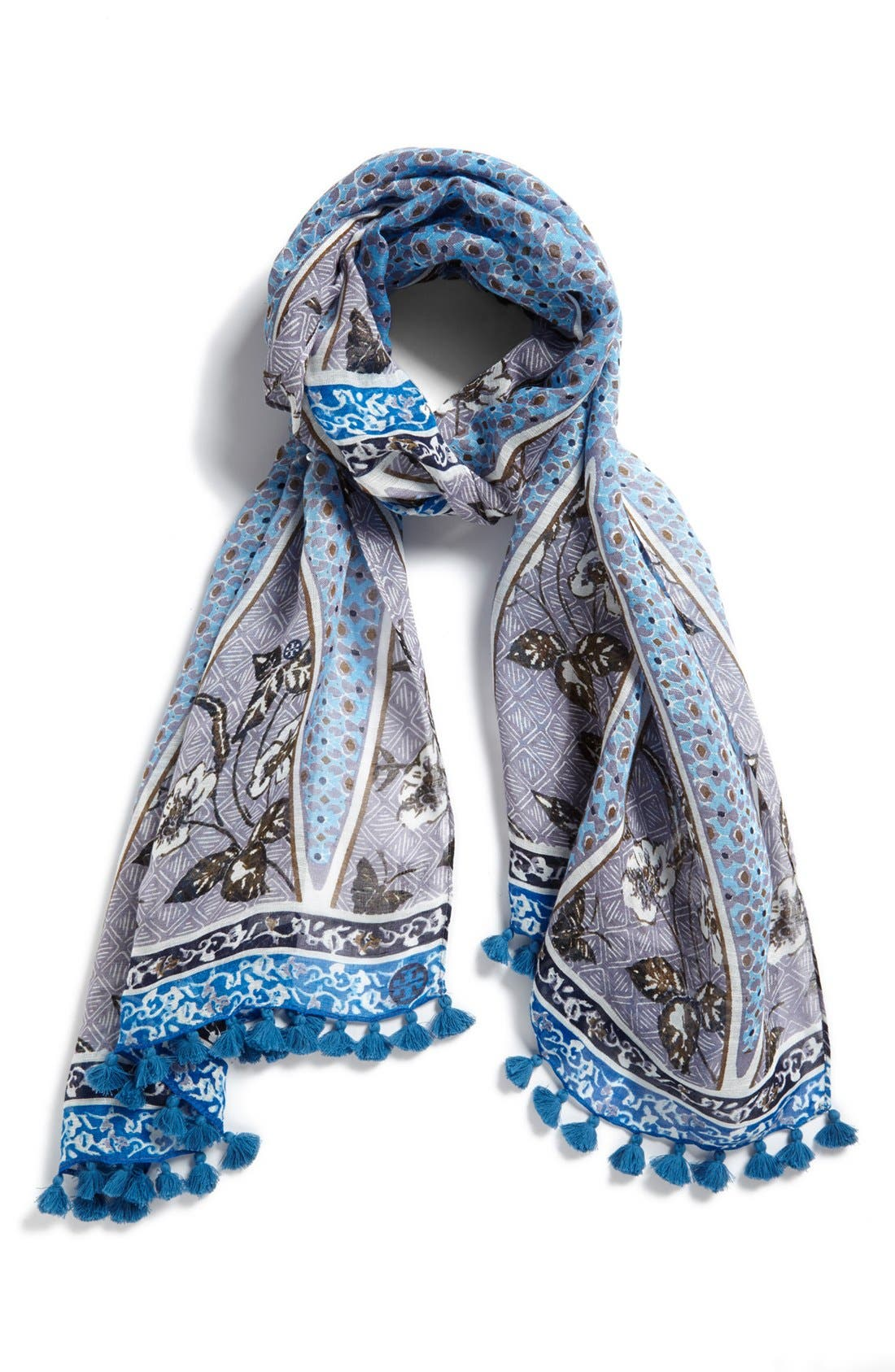 Main Image - Tory Burch 'Olea' Floral Mix Pompom Scarf
