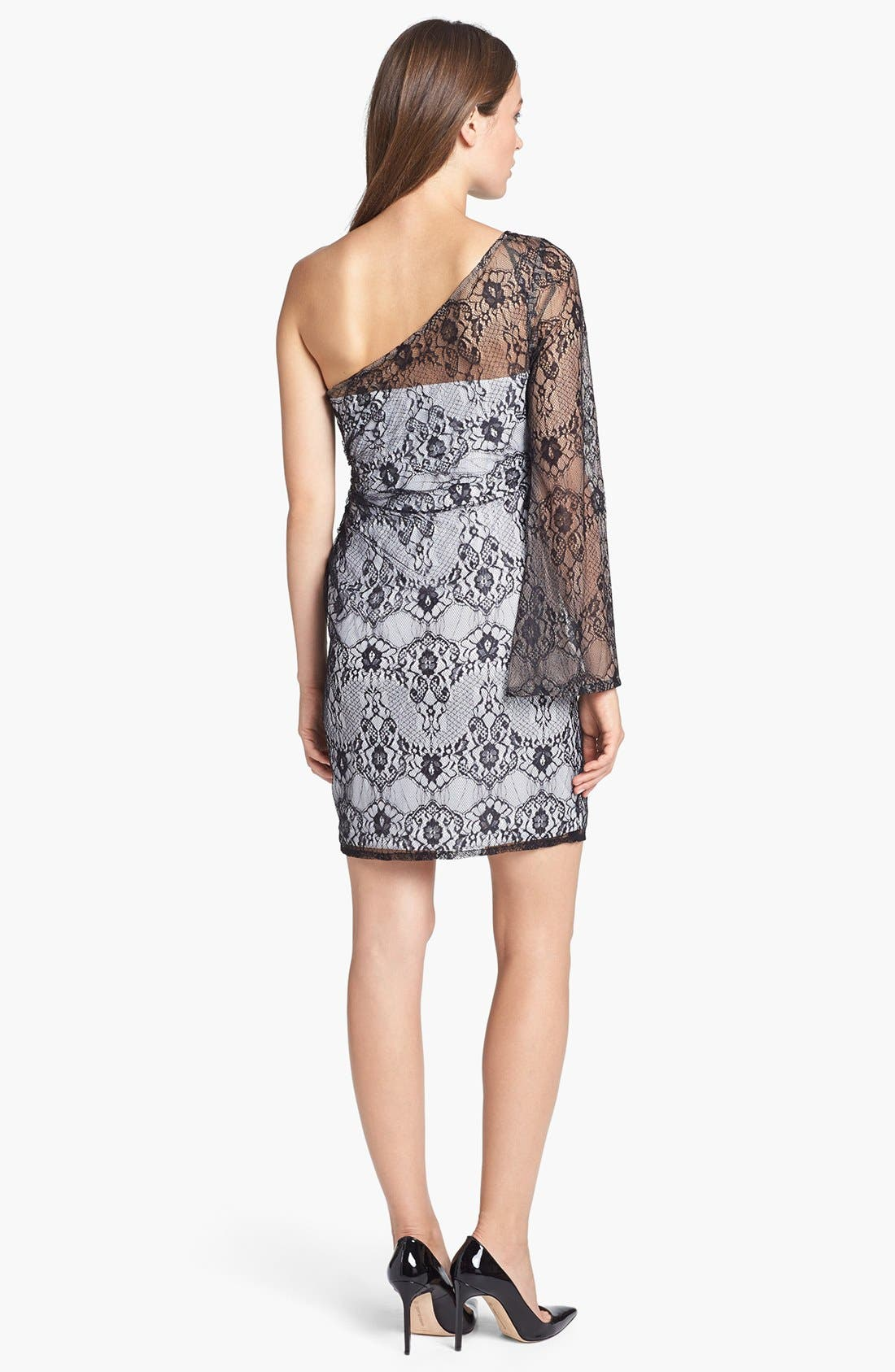 Alternate Image 2  - Hailey by Adrianna Papell One-Shoulder Lace Sheath Dress
