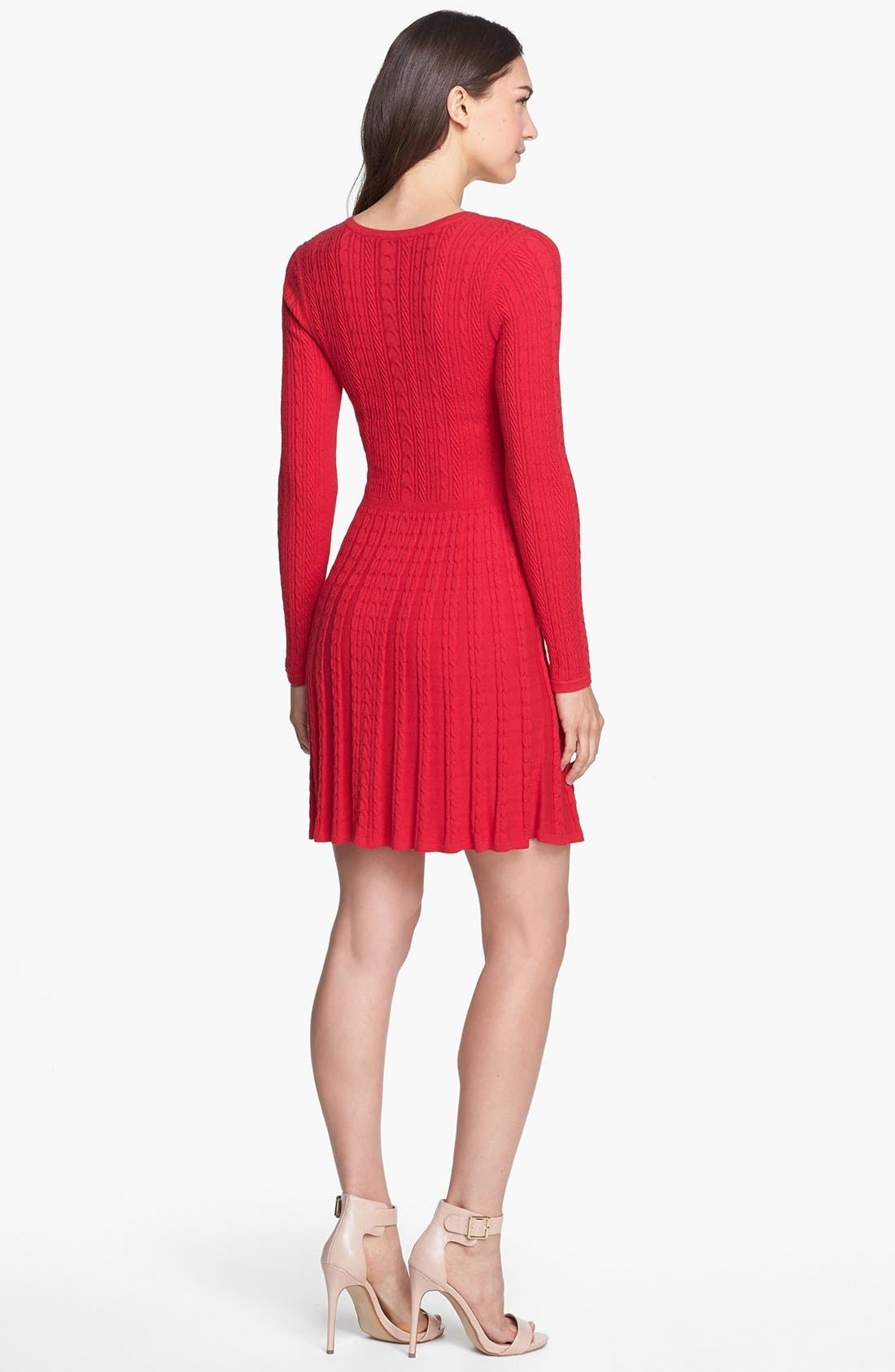 Alternate Image 2  - BCBGMAXAZRIA Cable Knit Fit & Flare Sweater Dress