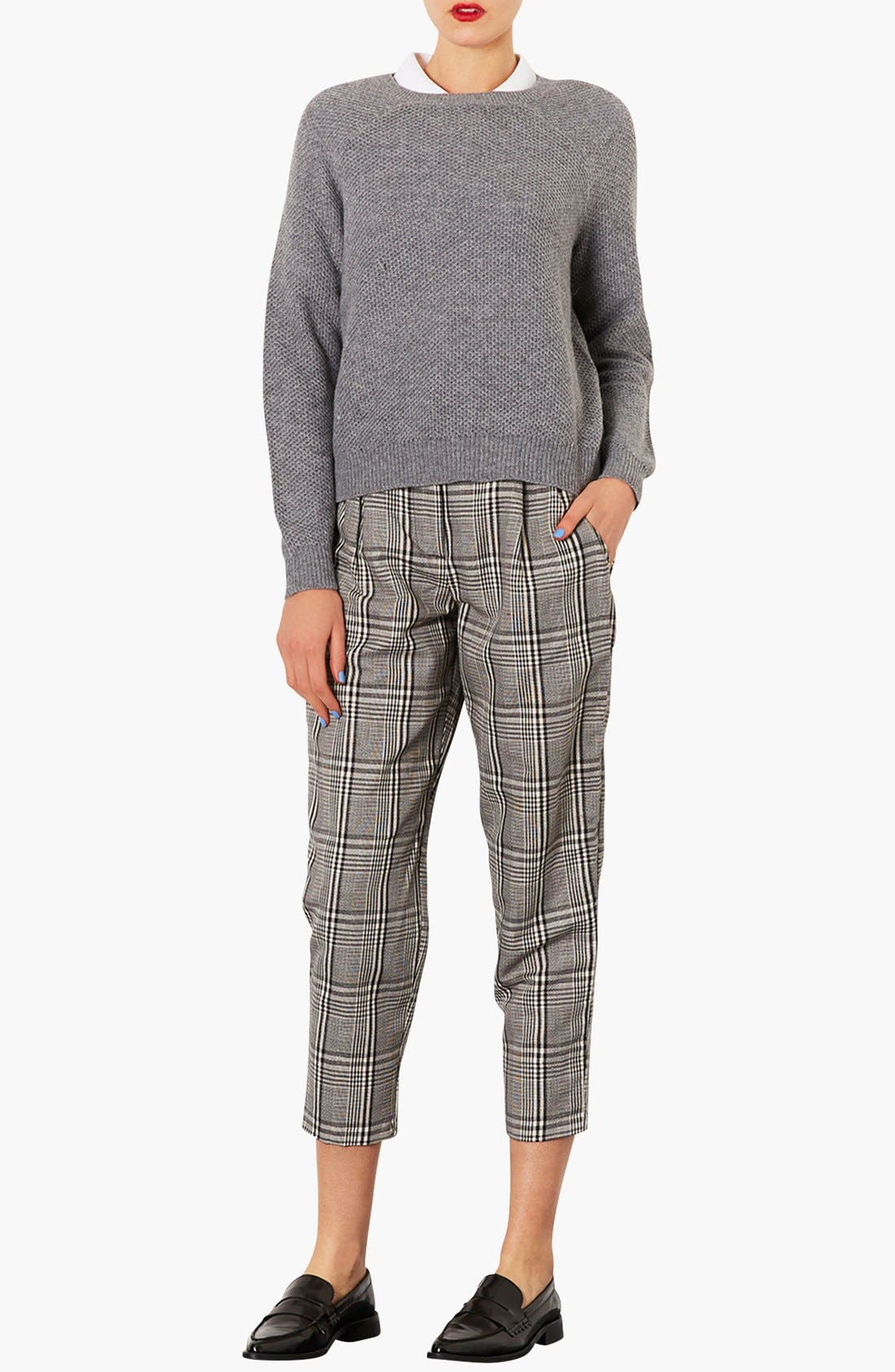 Alternate Image 4  - Topshop Plaid Tapered Crop Trousers