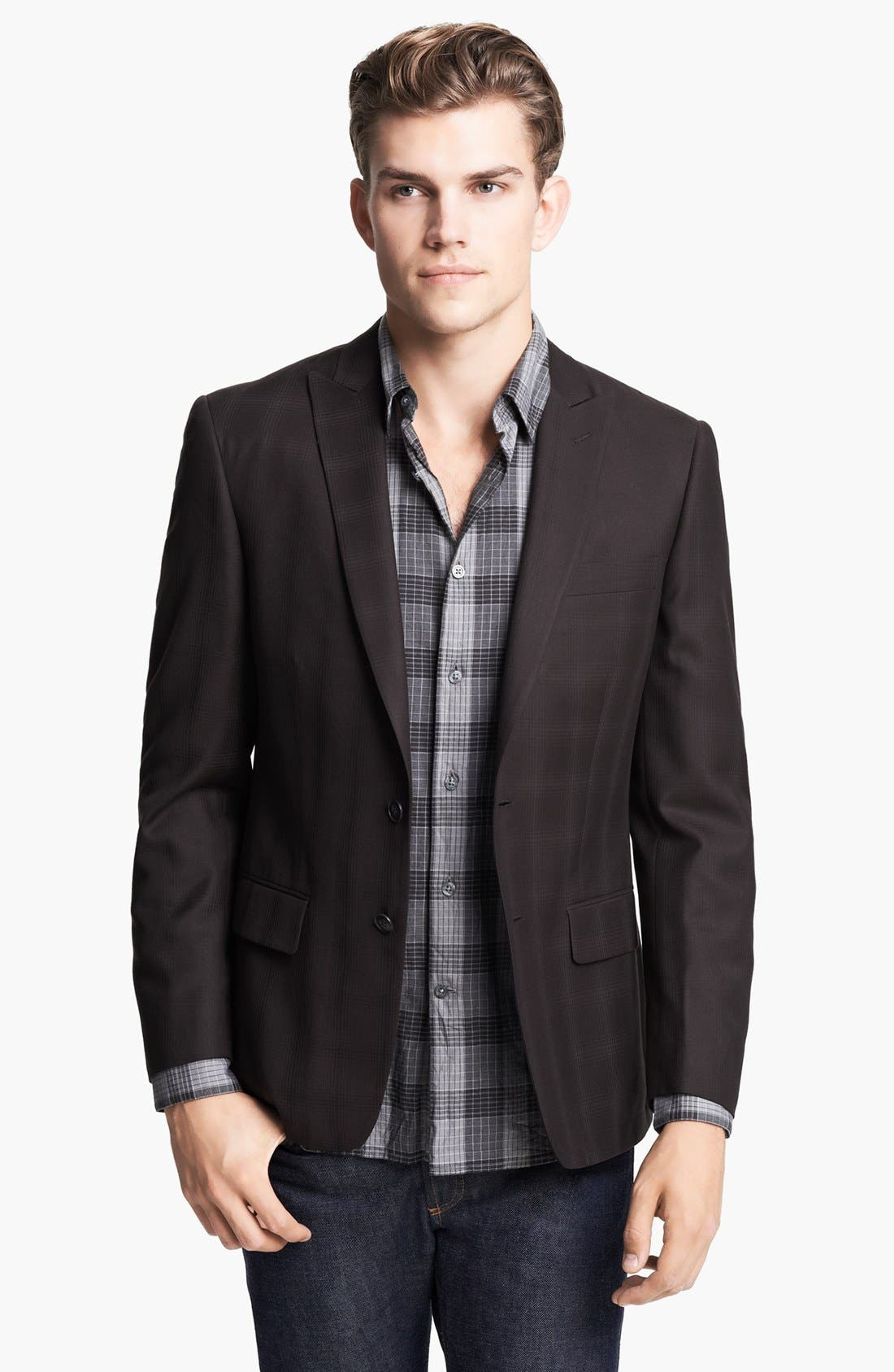 Main Image - John Varvatos Star USA Plaid Peak Lapel Sportcoat