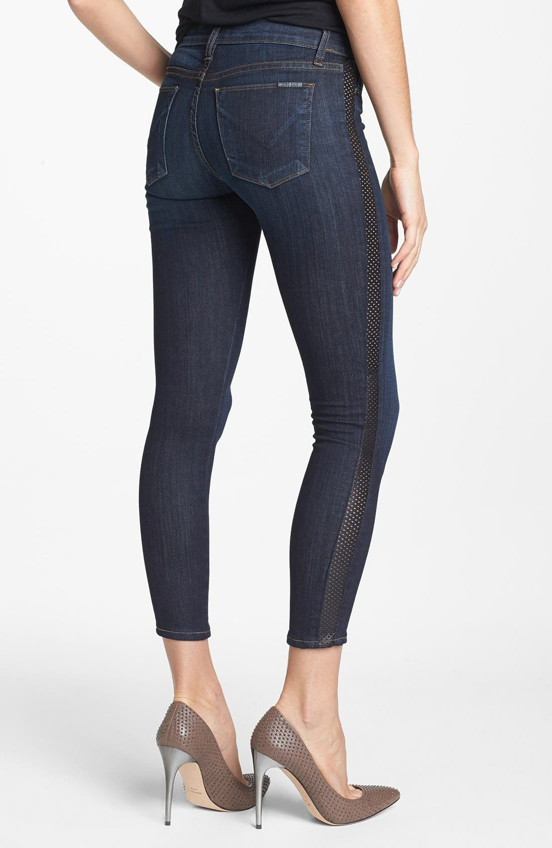Alternate Image 2  - Hudson Jeans 'Ava' Leather Tuxedo Stripe Crop Skinny Jeans (Shirley)