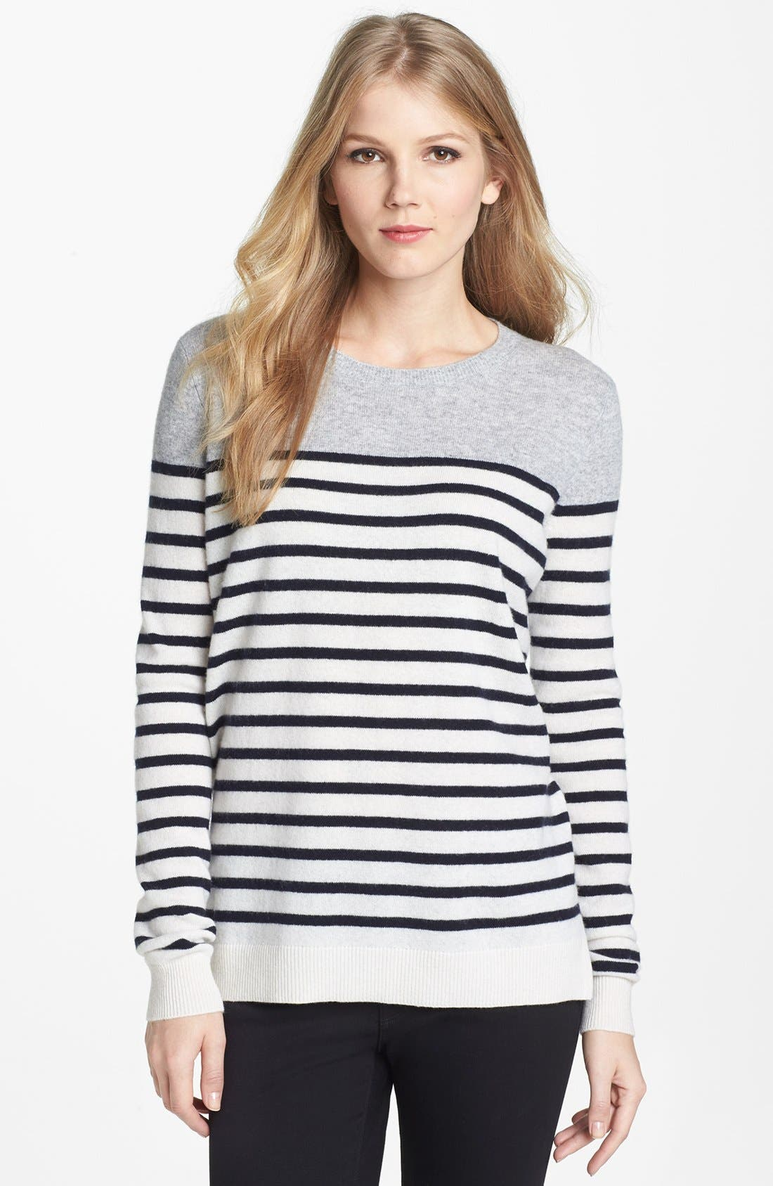 Alternate Image 1 Selected - Vince Colorblock Breton Stripe Cashmere Sweater
