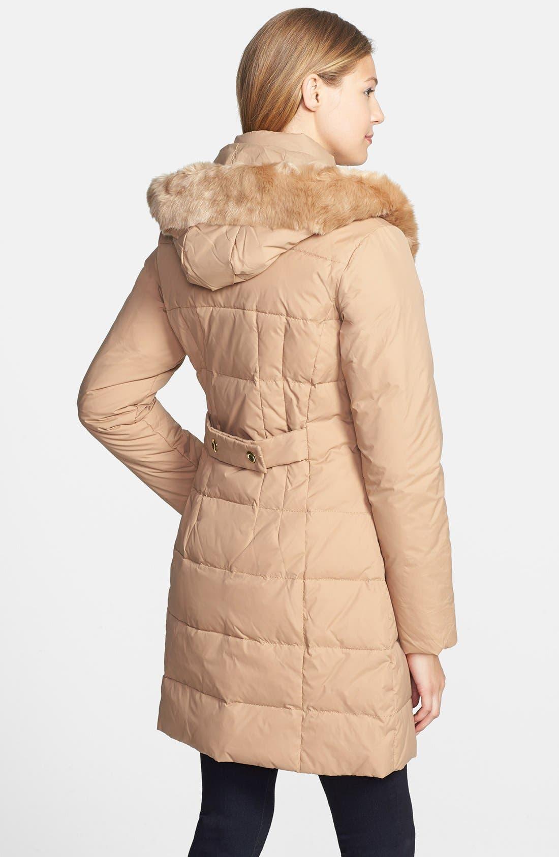 Alternate Image 2  - Larry Levine Faux Fur Trim Down & Feather Coat