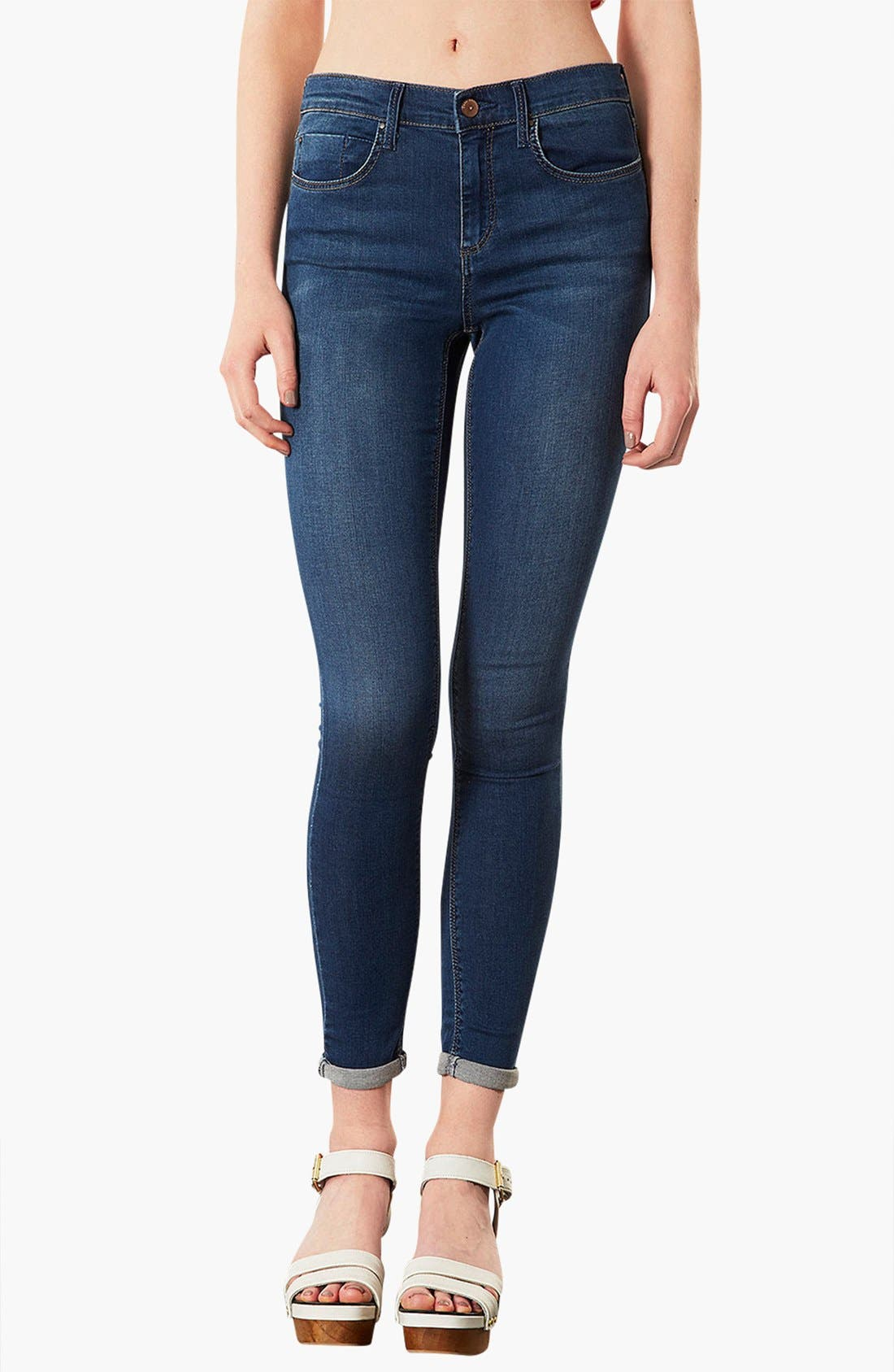 Alternate Image 1 Selected - Topshop 'Leigh' Skinny Ankle Jeans (Mid Stone) (Petite)