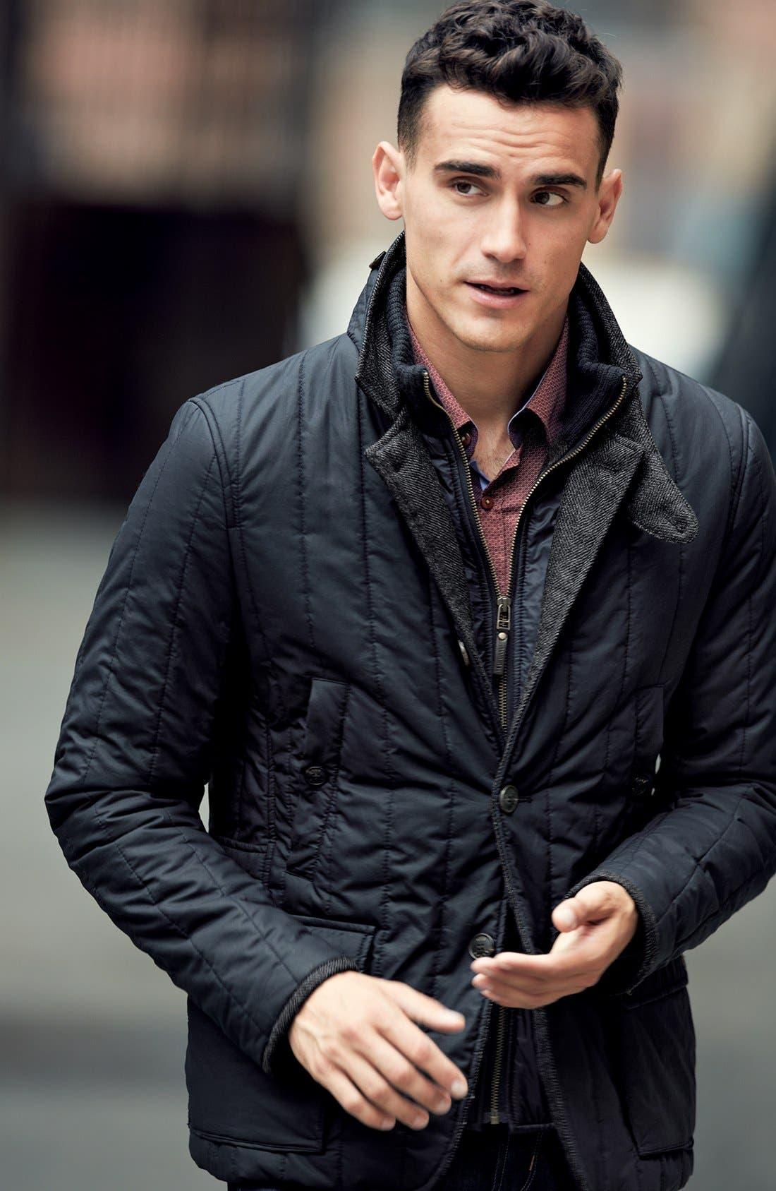 Alternate Image 1 Selected - Ted Baker London Quilted Jacket & Trim Fit Sport Shirt