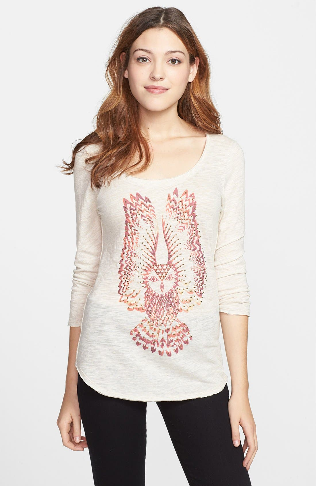 Alternate Image 1 Selected - Lucky Brand Embellished Owl Tee