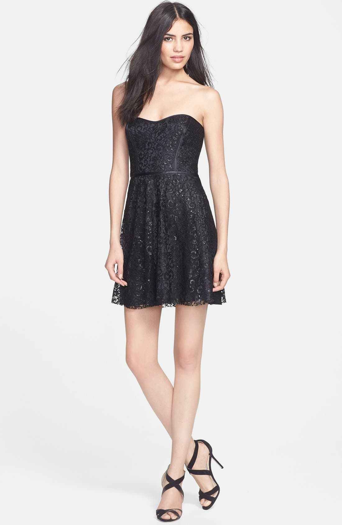 Alternate Image 1 Selected - Parker 'Eva' Metallic Lace Fit & Flare Dress
