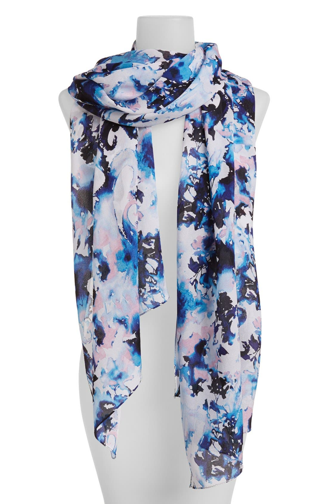 Main Image - St. John Collection Abstract Paisley Print Georgette Scarf