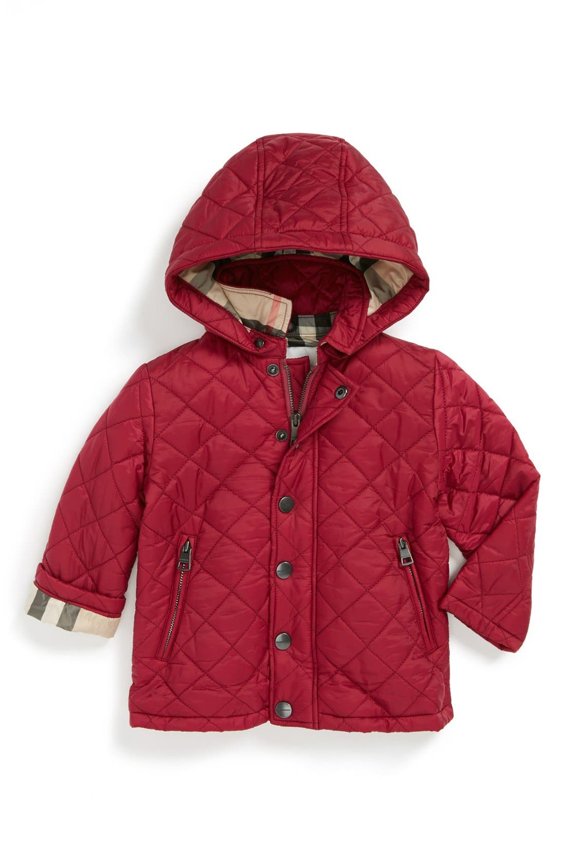 Main Image - Burberry Quilted Jacket (Baby Girls)