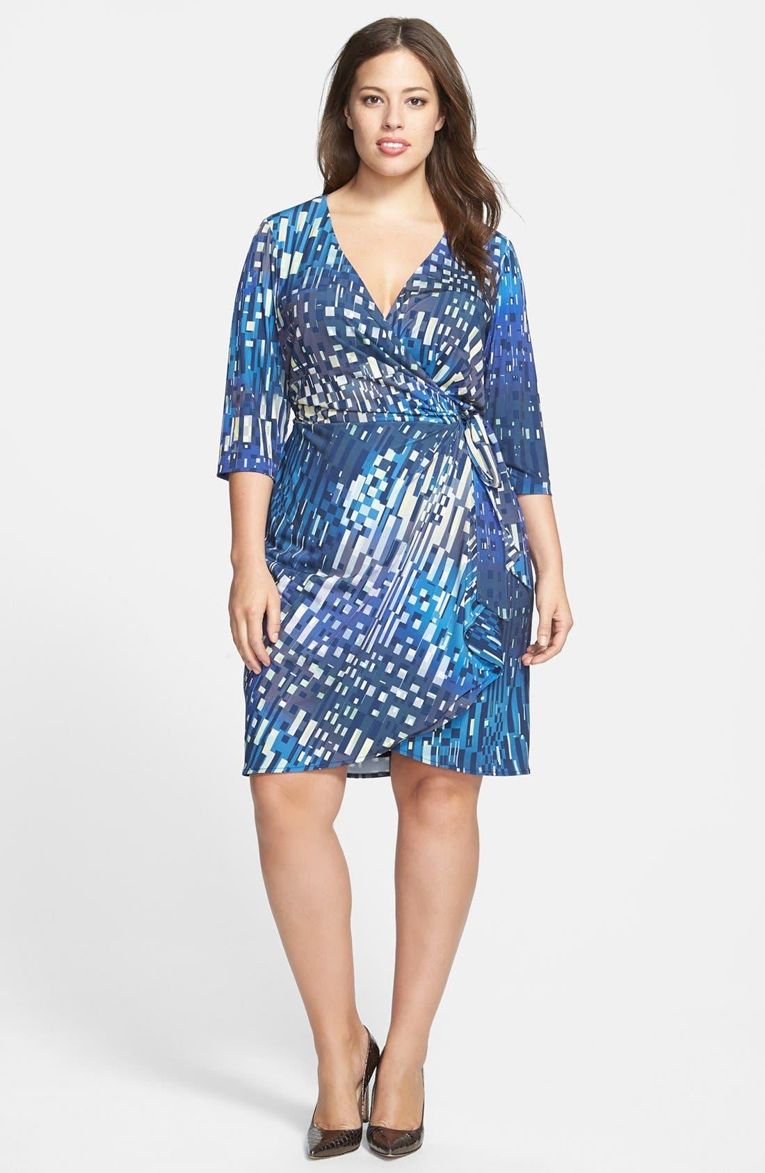 Main Image - Ivy & Blu Print Faux Wrap Dress (Plus Size)