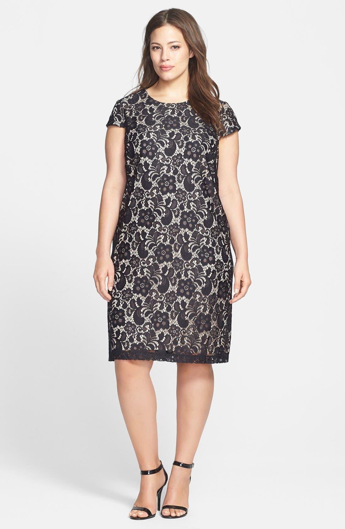 Alternate Image 1 Selected - Ivy & Blu Lace Shift Dress (Plus Size)