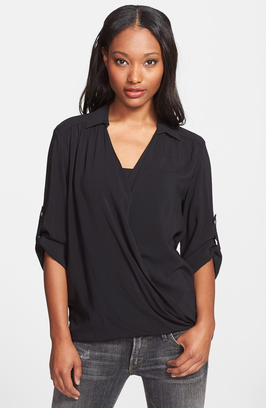 Alternate Image 1 Selected - Max & Mia Faux Wrap High/Low Blouse