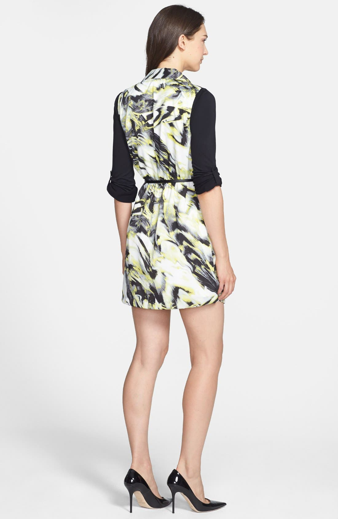 Alternate Image 2  - kensie Knit Sleeve Belted Print Twill Shirtdress
