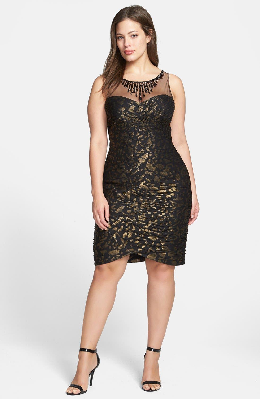 Alternate Image 1 Selected - Adrianna Papell Metallic Pattern Shirred Sheath Dress (Plus Size)