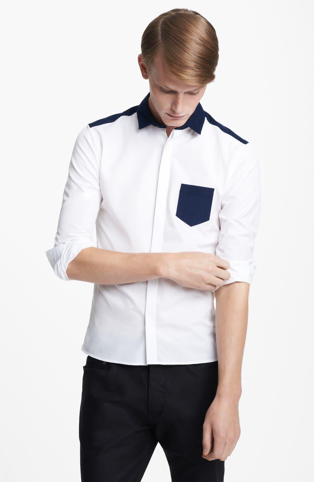 Alternate Image 1 Selected - Neil Barrett Corduroy Colorblock Shirt