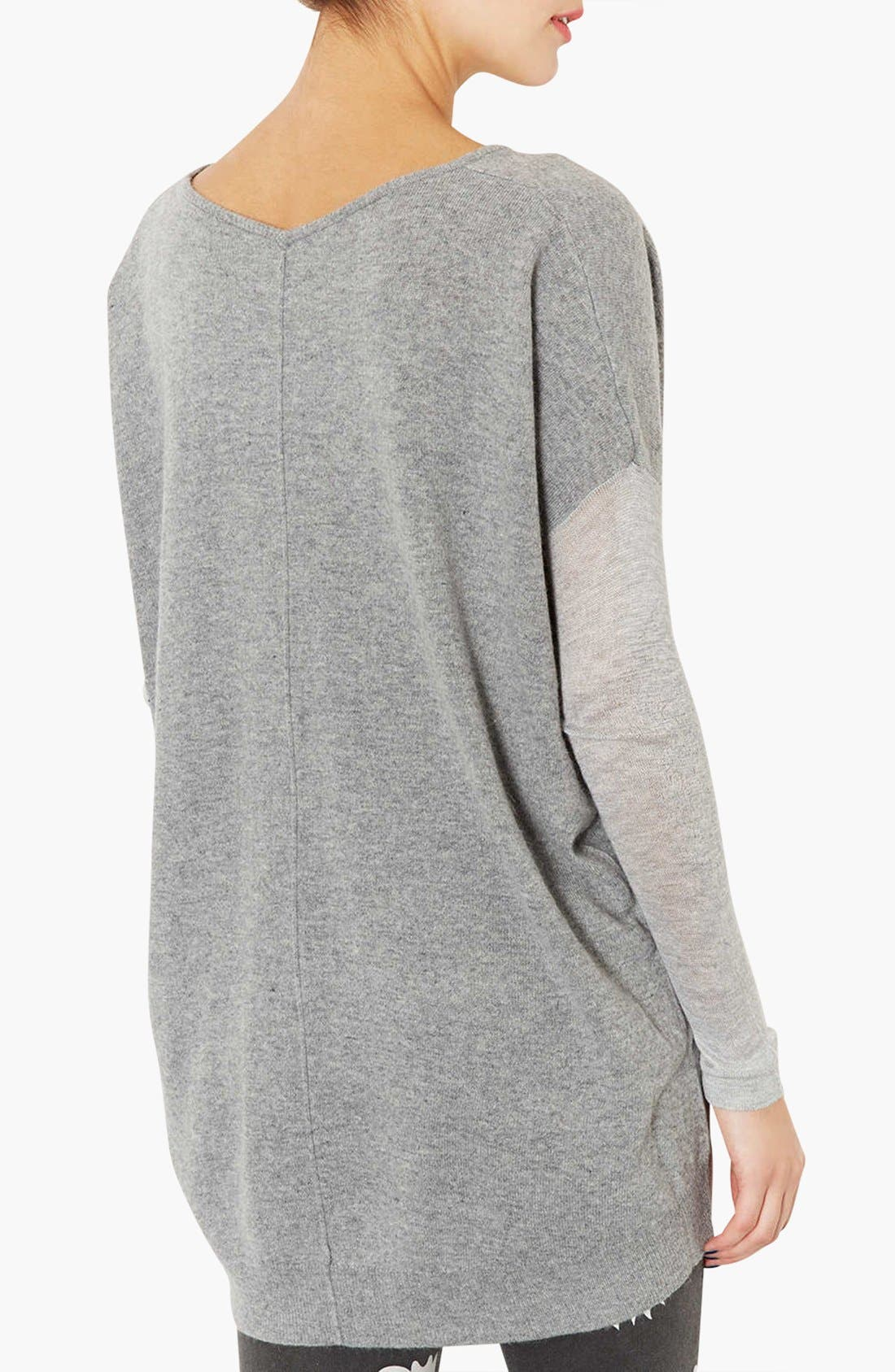 Alternate Image 2  - Topshop Mixed Media Drop Shoulder Sweater