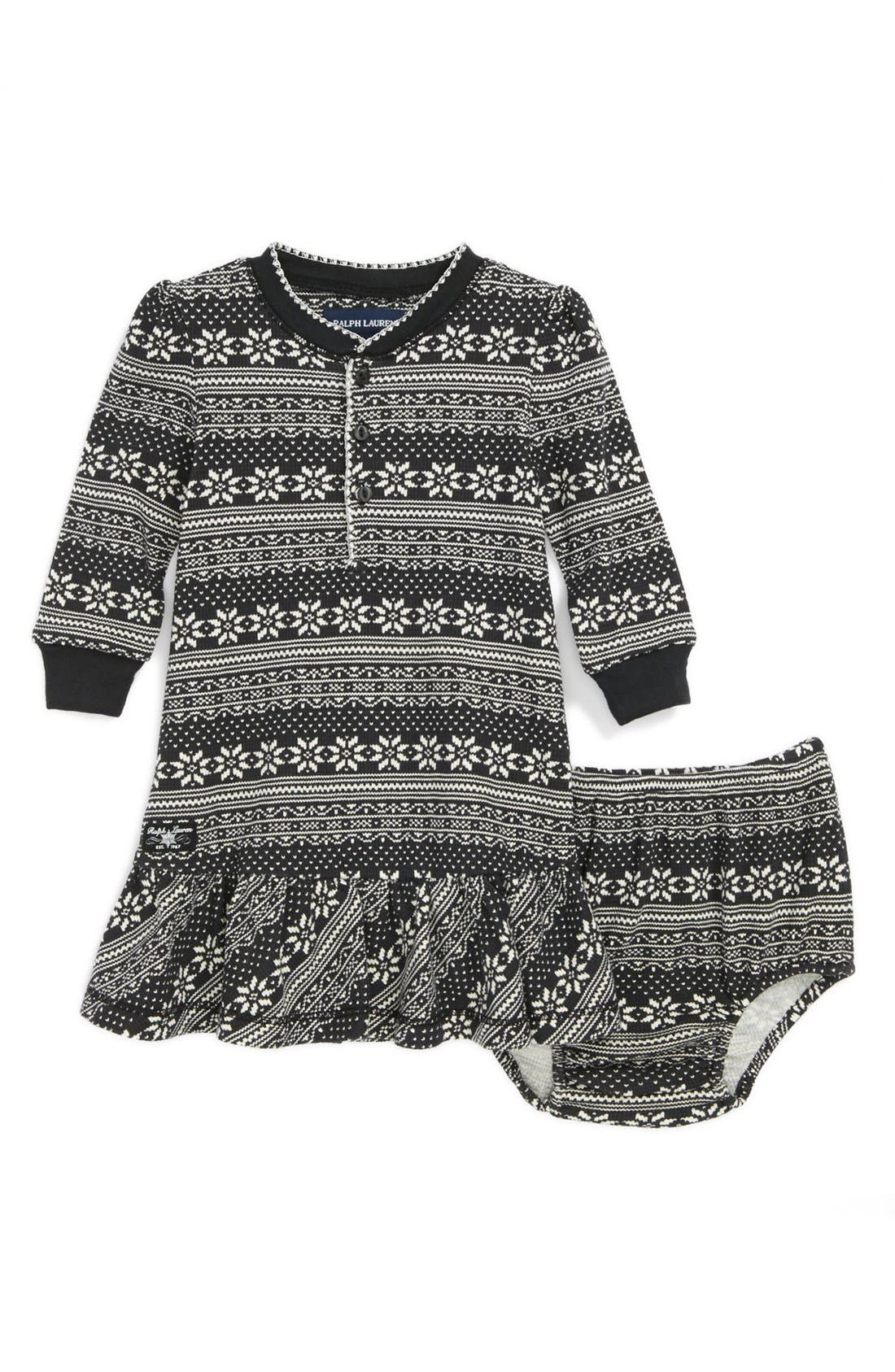 Alternate Image 1 Selected - Ralph Lauren Print Dress & Bloomers (Baby Girls)