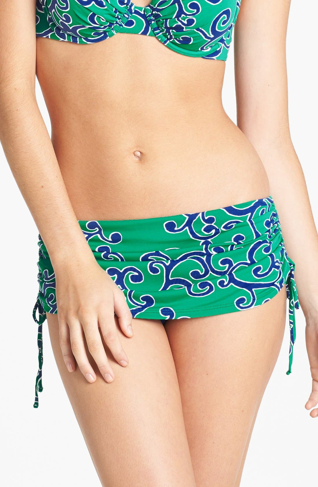 Main Image - Tommy Bahama 'Ocean Swirl' Skirted Hipster Bikini Bottoms