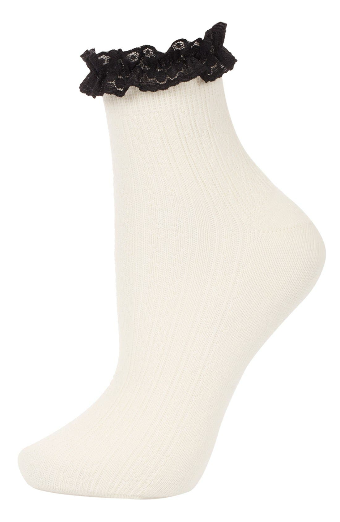 Main Image - Topshop Lace Trim Ankle Socks