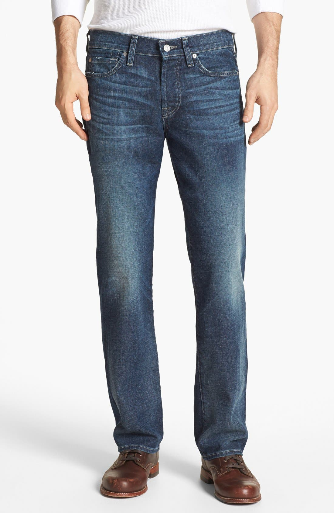 Alternate Image 1 Selected - 7 For All Mankind® 'Standard' Straight Leg Jeans (Deep Creek)