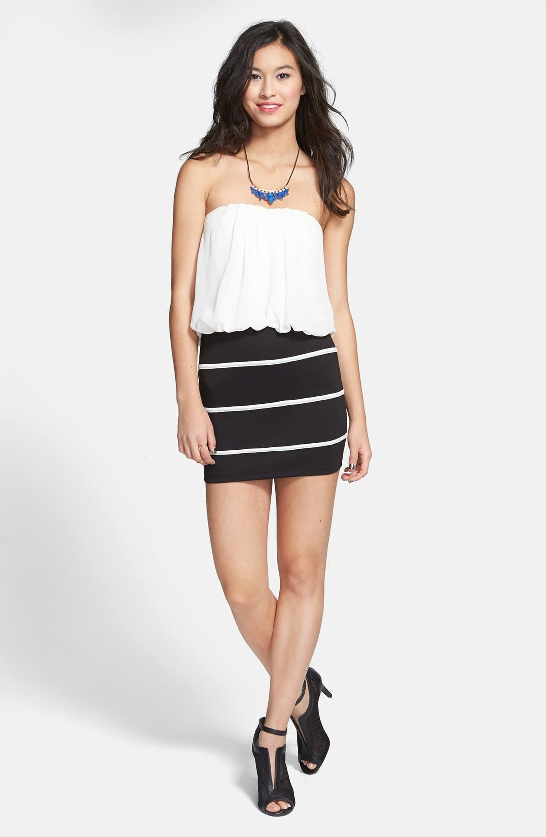 Main Image - Trixxi Strapless Pleated Blouson Dress (Juniors) (Online Only)
